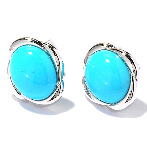 122-424 - Gem Insider Sterling Silver 10 x 8mm Sleeping Beauty Turquoise Button Earrings