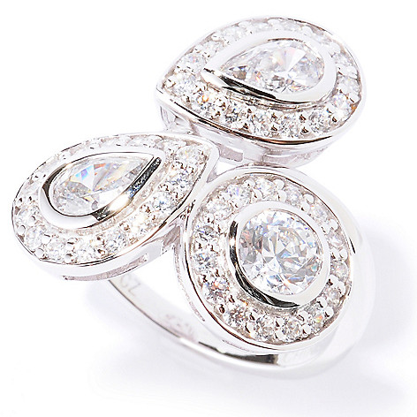 122-429 - Brilliante® Platinum Embraced™ 1.91 DEW Round & Pear Shaped Simulated Diamond Halo Ring