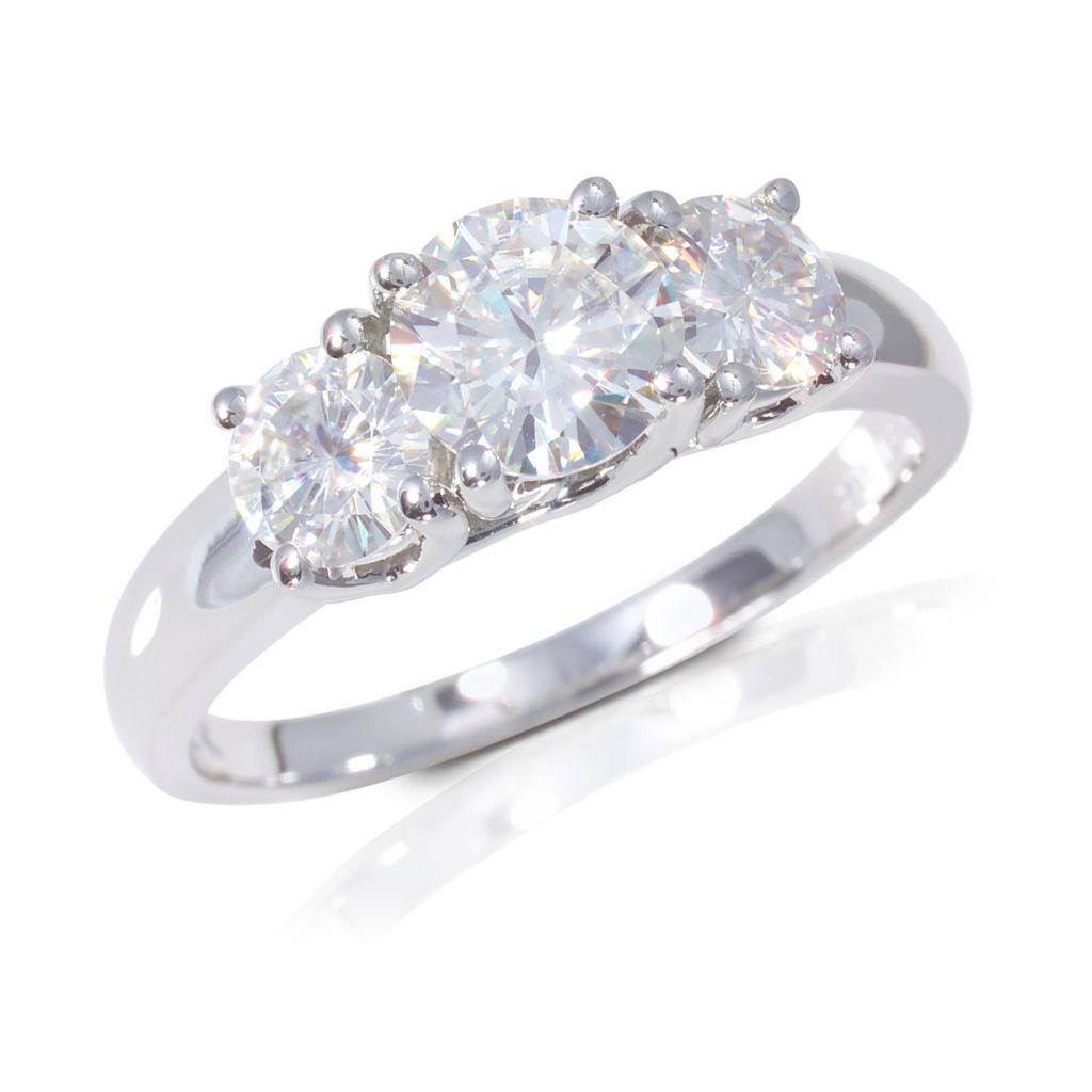 122-772 - 14K White Gold  2.00ct DEW Moissanite Three-Stone Ring