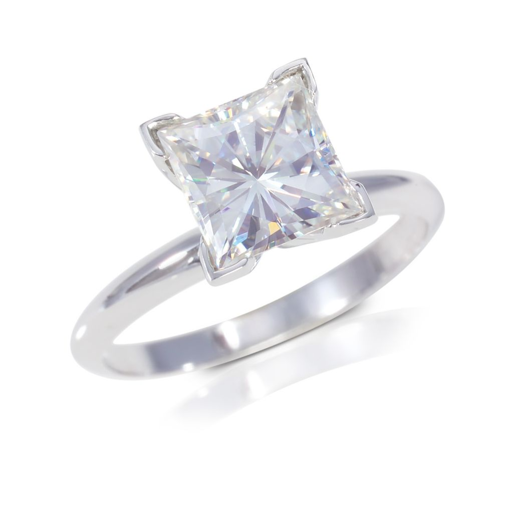 122-773 - 14K White Gold 1.00ct DEW Moissanite Square Brilliant Cut Solitaire Ring