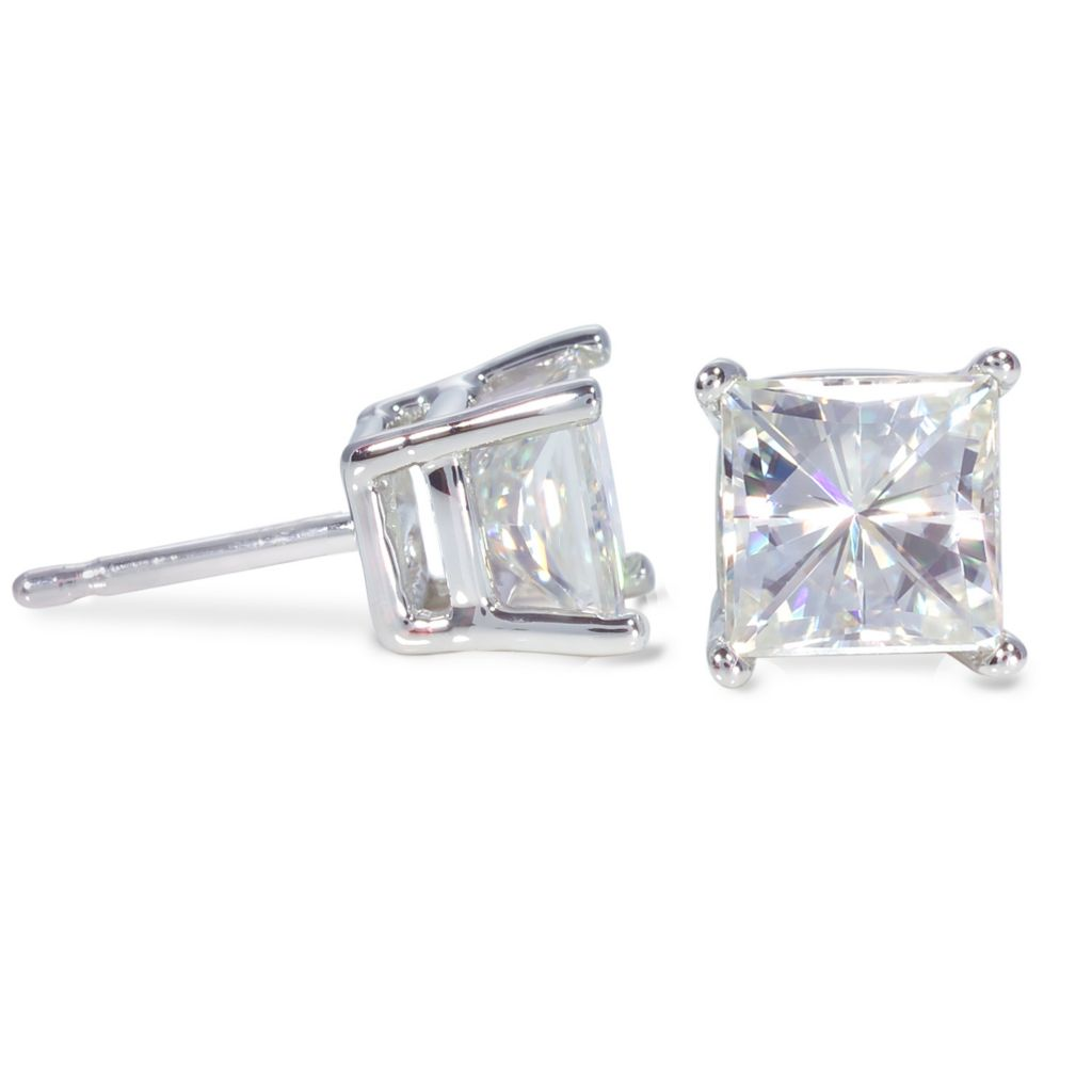 122-774 - 14K White or Yellow Gold 2.00ct DEW Square Brilliant Cut Moissanite Stud Earrings