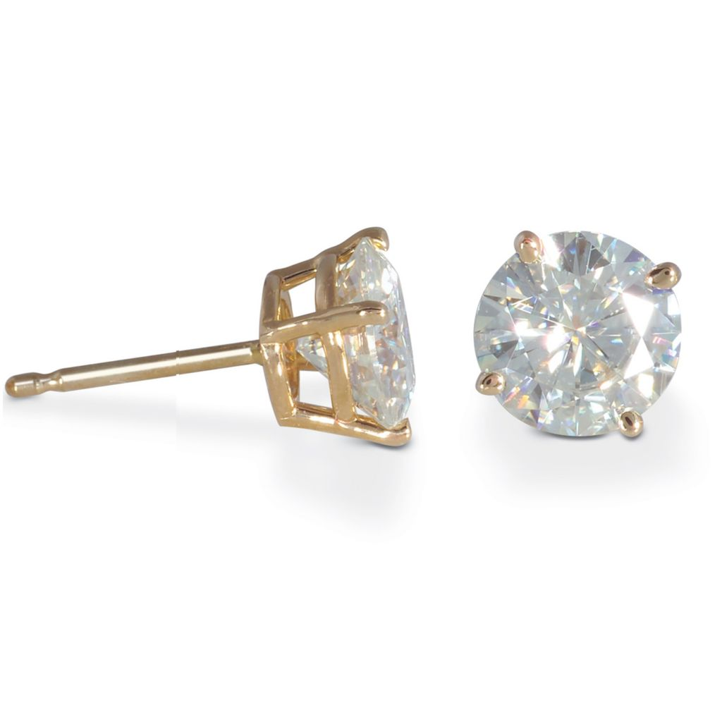 122-780 - 14K White or Yellow Gold 3.00ct DEW Moissanite Stud Earrings
