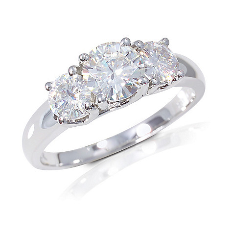 122-782 - 14K White Gold 3.10ct DEW Moissanite Three-Stone Ring