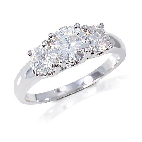 122-782 - 14K White Gold 3.10ct DEW Moissanite Three-Stone Ring