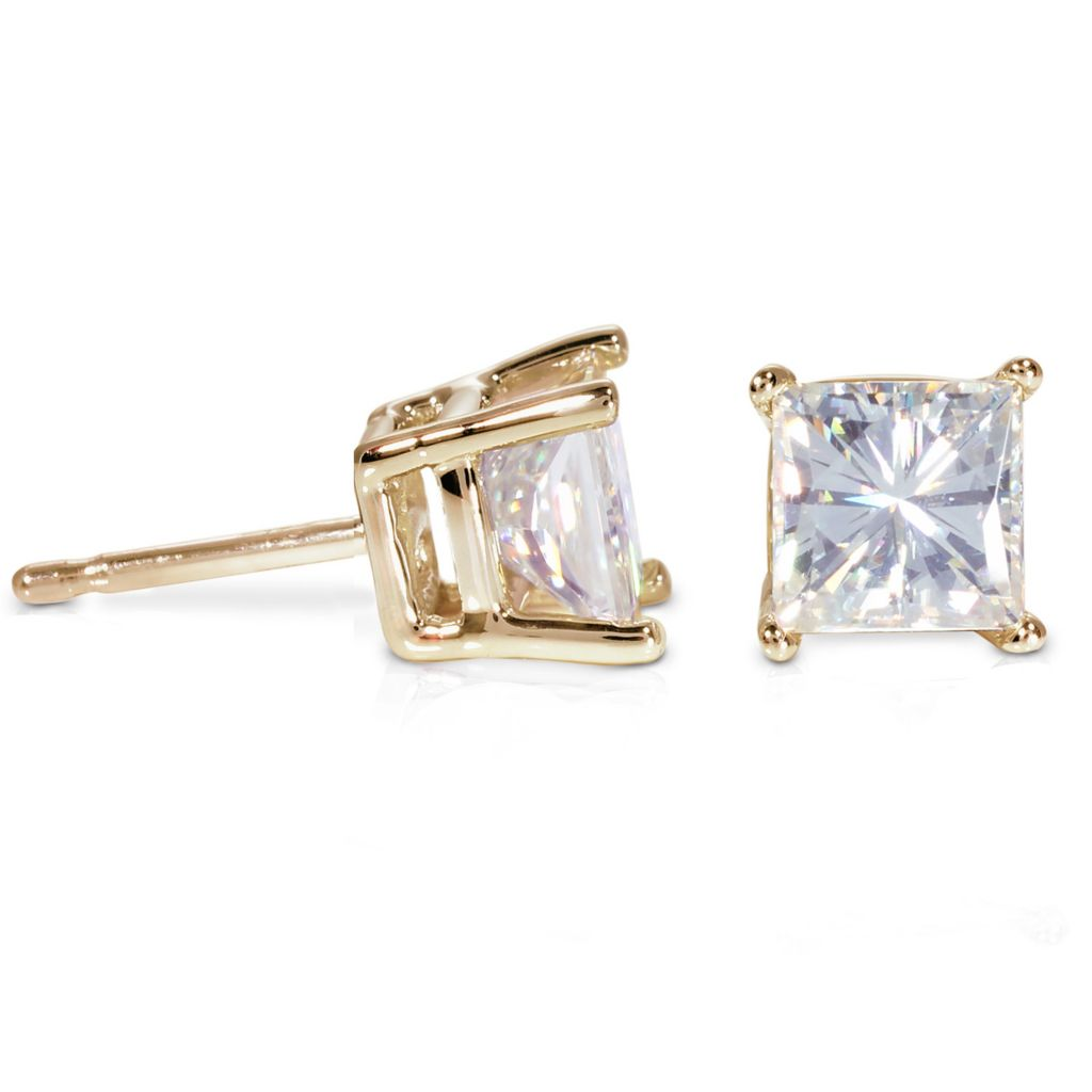 122-784 - 14K White or Yellow Gold 3.40ct DEW Square Brilliant Moissanite Stud Earrings