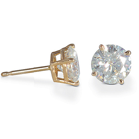 122-785 - 14K White or Yellow Gold 3.80ct DEW Moissanite Stud Earrings