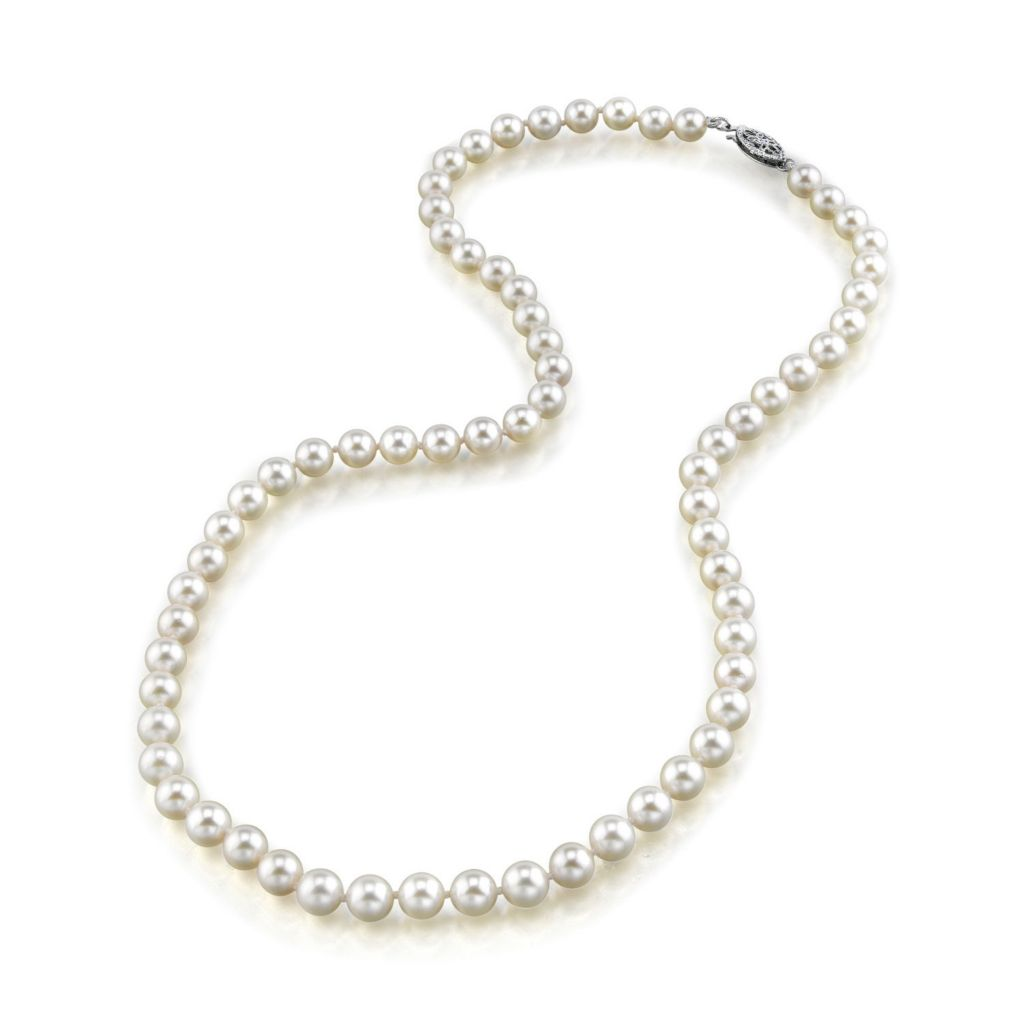 "122-872 - 16""-18"" AAA Quality 6.0-6.5mm Japanese Cultured White Akoya Pearl Strand Necklace"