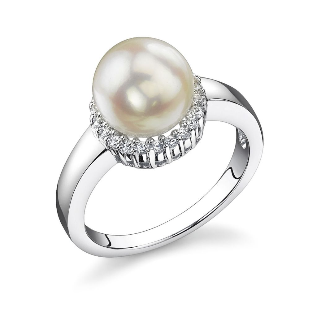 122-907 - Sterling Silver AAA Quality 7.5-8.0mm Cultured Akoya Pearl & Simulated Diamond Ring