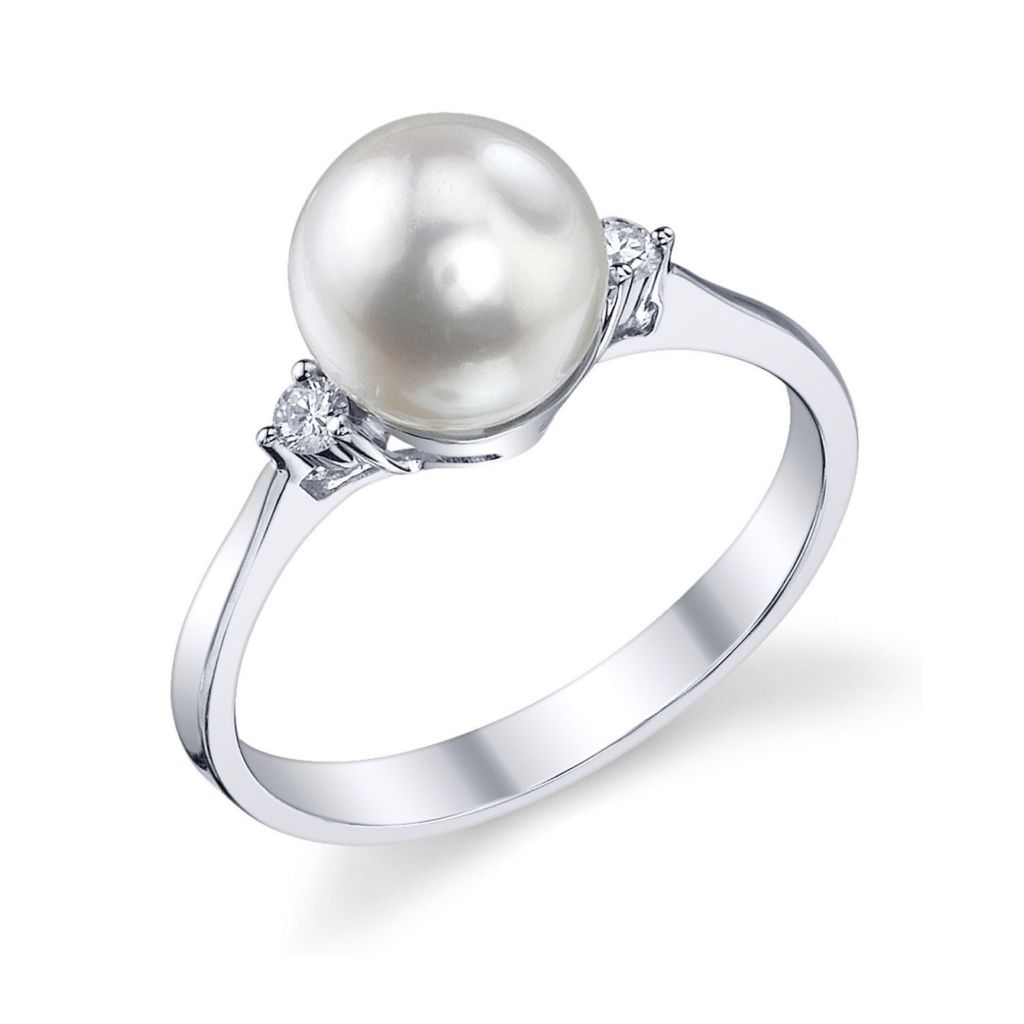 122-917 - 14K White Gold AA+ Quality 7.5-8.0mm Cultured Japanese Akoya Pearl & Diamond Ring