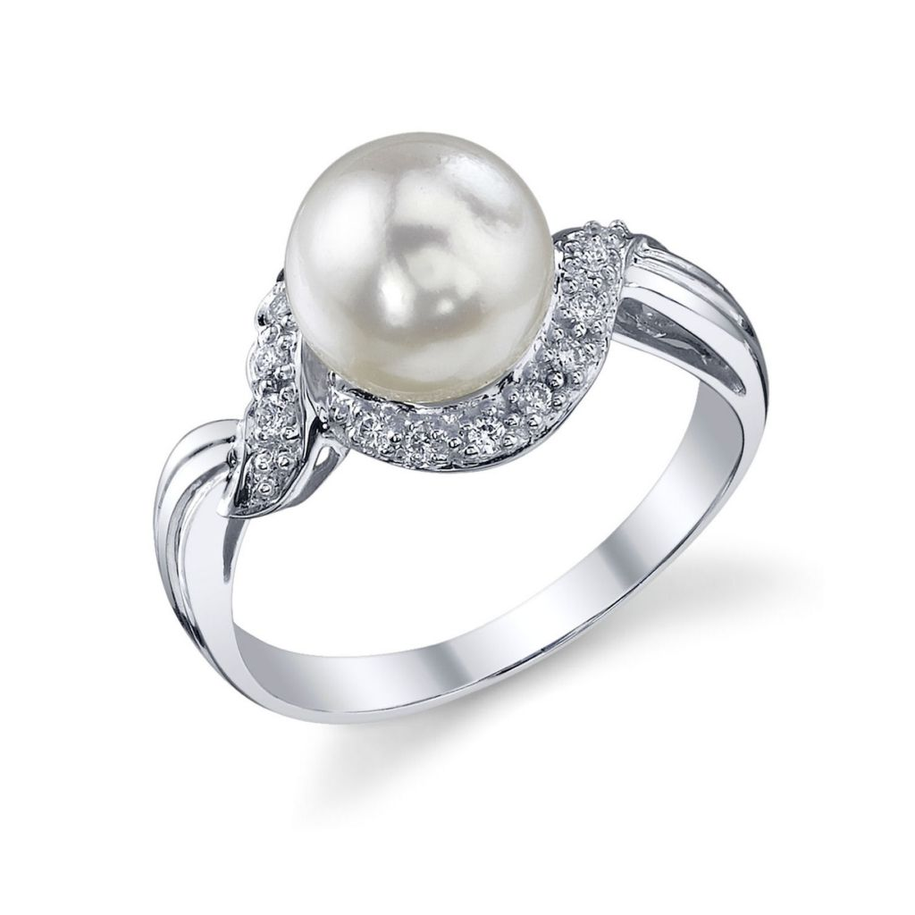 122-919 - 14K White Gold AAA Quality 8.0-8.5mm Cultured Japanese Akoya Pearl & Diamond Twist Ring