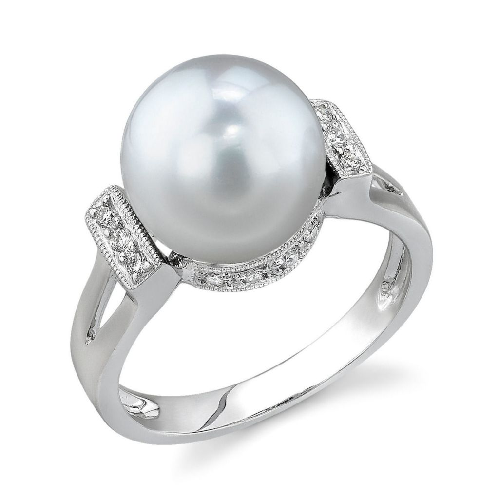 122-921 - 14K White Gold AAA Quality 10mm South Sea Cultured Pearl & Diamond Ring
