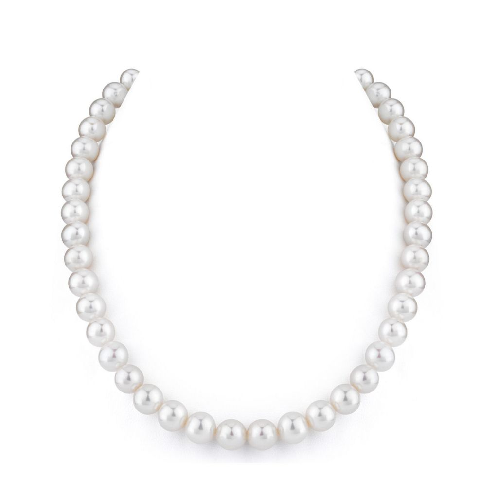"123-137 - 14K White or Yellow Gold 16"", 17"" or 18"" AAA Quality 9-10mm Cultured Freshwater Pearl Necklace"
