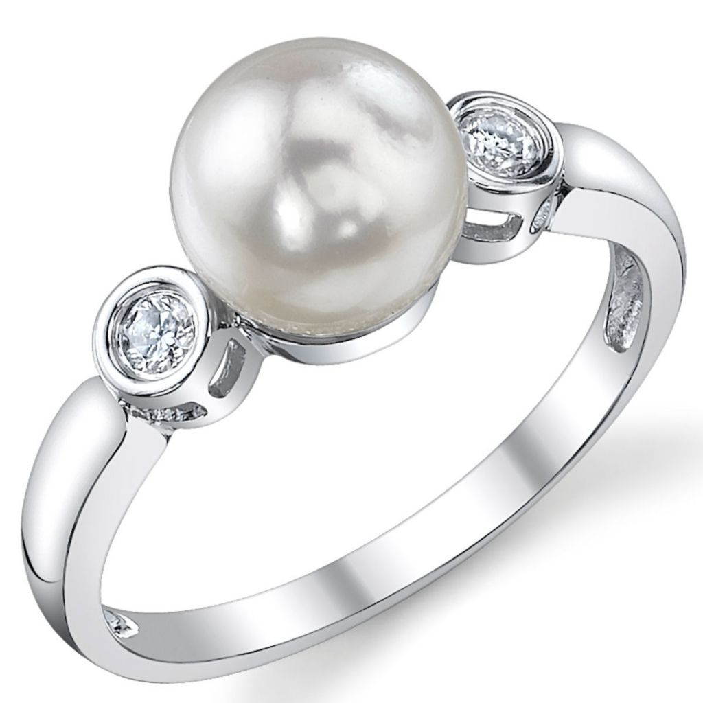 123-141 - 14K White Gold AAA Quality 7.5-8.0mm Akoya Cultured Pearl & Diamond Ring