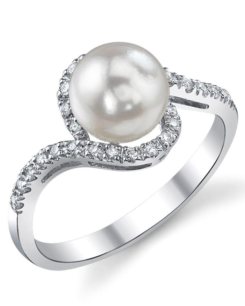 123-142 - 14K White Gold AAA Quality 7.5-8.0mm Akoya Cultured Pearl & Diamond Ring