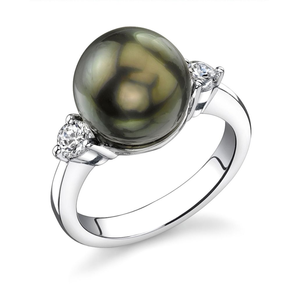 123-148 - Sterling Silver AAA Quality 11mm Tahitian Cultured Pearl Ring