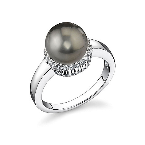 123-149 - Sterling Silver AAA Quality 9mm Tahitian Cultured Pearl Ring