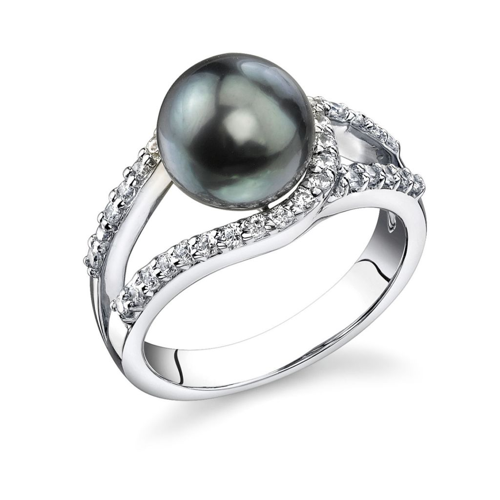 123-150 - Sterling Silver AAA Quality 9mm Tahitian South Sea Cultured Pearl Ring