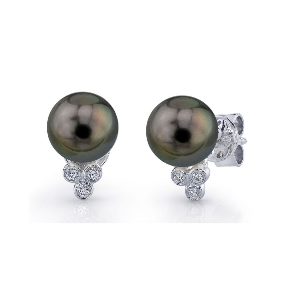 123-151 - 18K White Gold AAA Quality 8mm Black Tahitian Cultured Pearl & Diamond Earrings