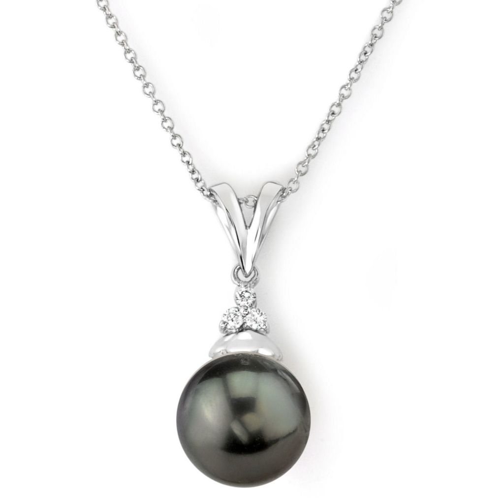 123-156 - 14K White Gold AAA Quality 8mm Black Tahitian South Sea Cultured Pearl & Diamond Pendant w/ Chain