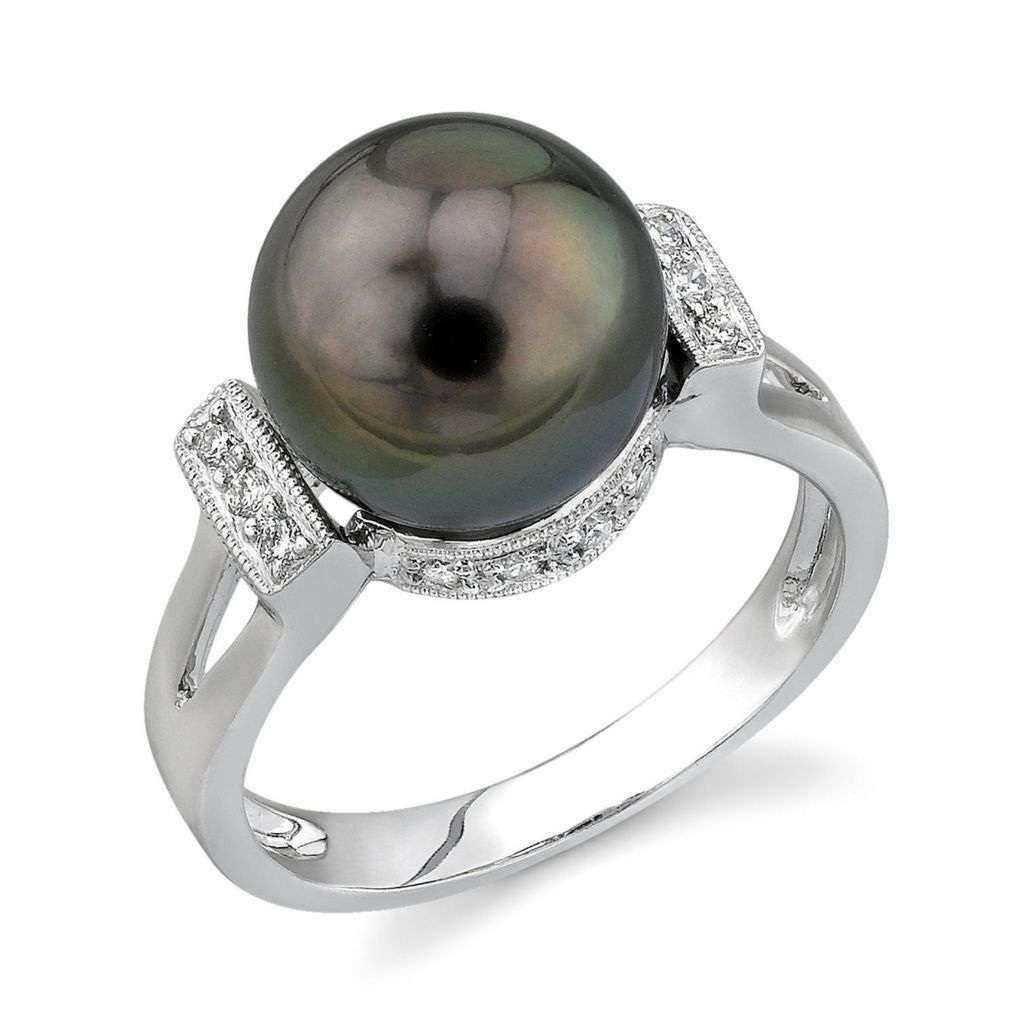 123-158 - 14K White Gold AAA Quality 10mm Tahitian Cultured Pearl & Diamond Ring