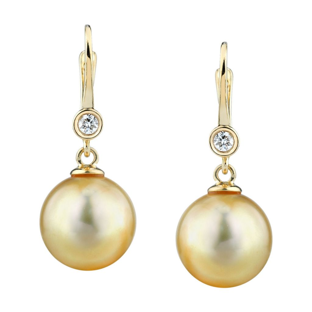 123-538 - 14K White Gold AAA Quality 9mm Golden Cultured South Sea Pearl & Diamond Earrings