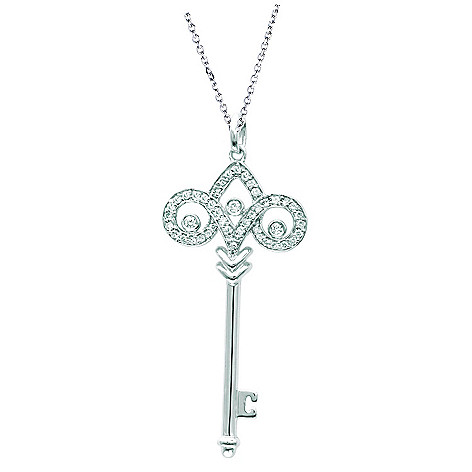 123-698 - Sterling Silver or 14K Rose or Yellow Gold Plated Diamond Large Fleur De Lis Key Pendant w/ Chain