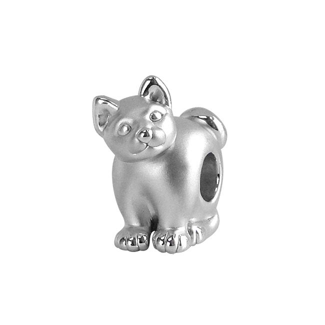 123-995 - Charles Garnier Sterling Silver Electroform Curious Kitty Bead