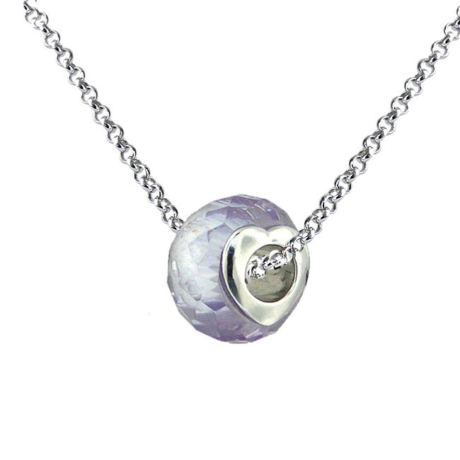124-262 - Charles Garnier Sterling Silver Faceted Amethyst-Color Crystal Bead Pendant w/ Chain