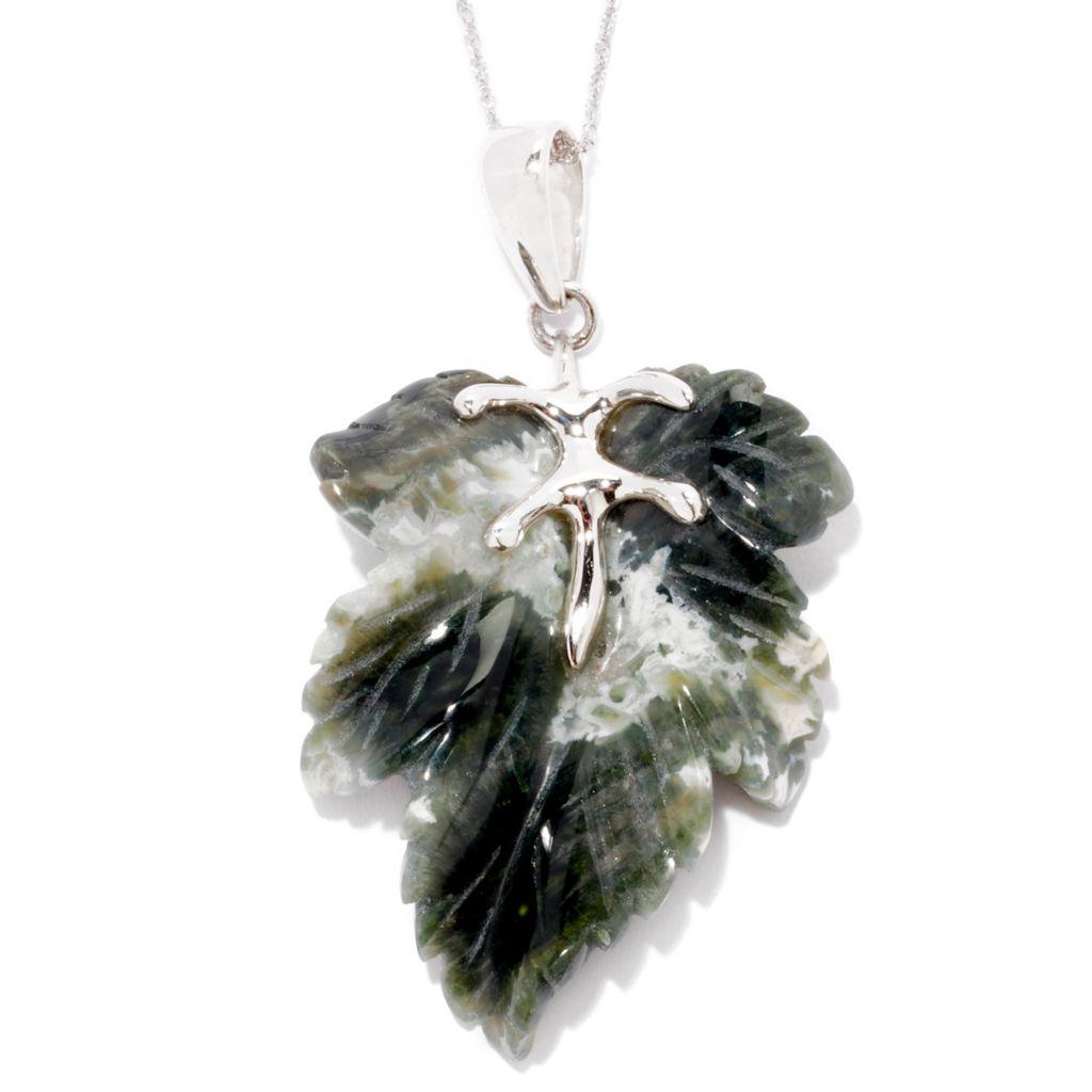 "124-833 - Gem Insider Sterling Silver Carved Leaf Agate Pendant w/ 18"" Chain"