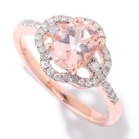 124-847 - Gem Treasures® 14K Gold 8 x 6mm Oval Morganite & Diamond Halo Ring