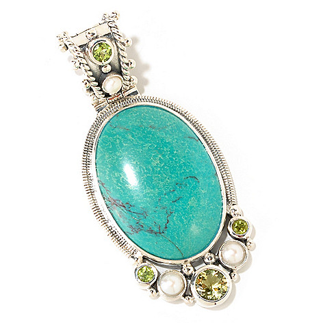 124-866 - Gem Insider Sterling Silver 40x28mm Turquoise & Multi Gemstone Enhancer Pendant