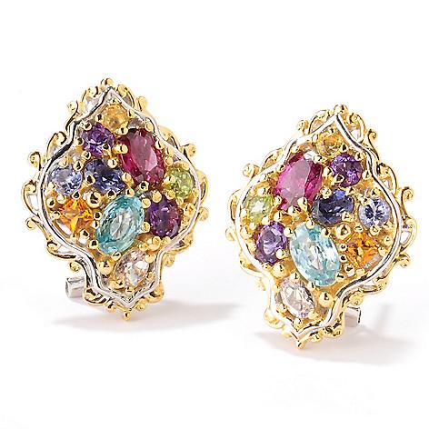 124-875 - Gems en Vogue 4.20ctw Multi Gemstone ''Jardin de Bijoux'' Button Earrings
