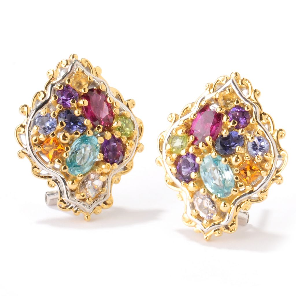 "124-875 - Gems en Vogue II 4.20ctw Multi Gemstone ""Jardin de Bijoux"" Button Earrings"