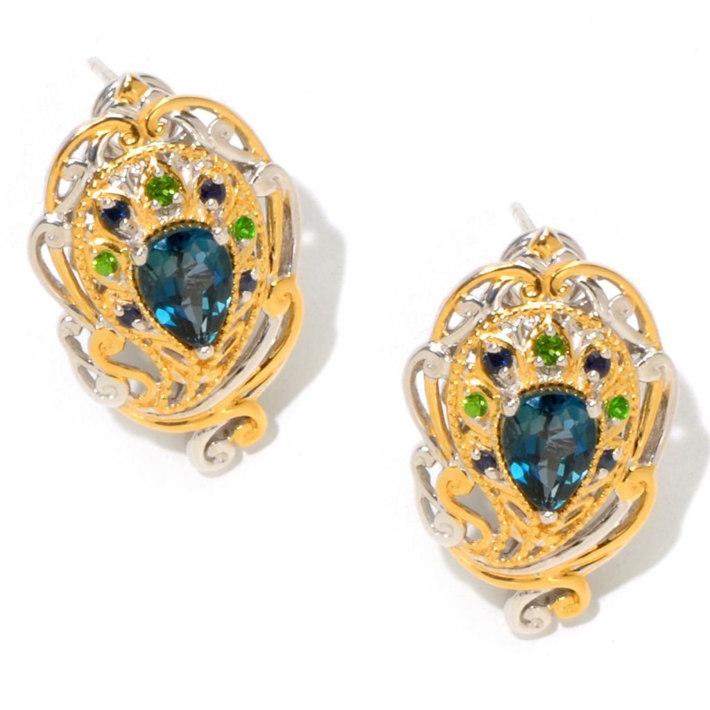 124-876 - Gems en Vogue II 2.32ctw Sapphire, London Blue Topaz & Chrome Diopside Button Earrings