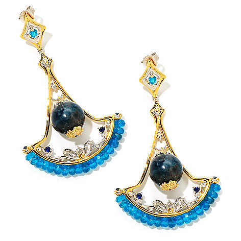 124-878 - Gems en Vogue II 35.70ctw Blue Apatite & Sapphire 2.5'' Drop Earrings
