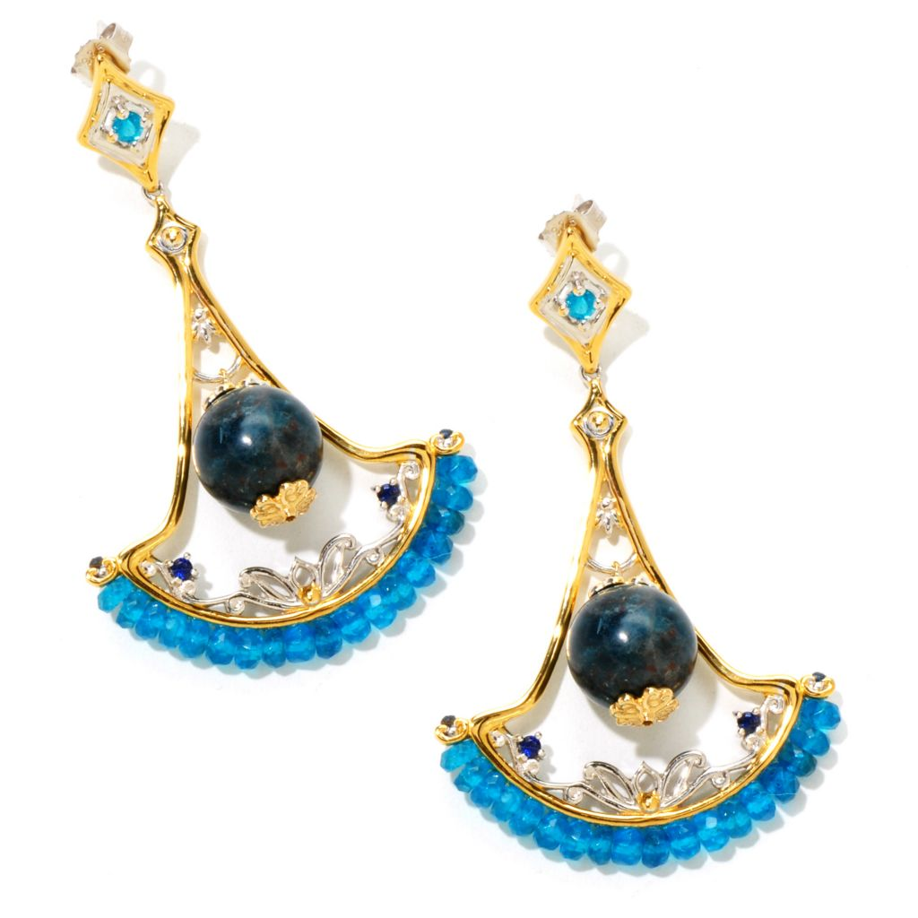 "124-878 - Gems en Vogue II 35.70ctw Blue Apatite & Sapphire 2.5"" Drop Earrings"