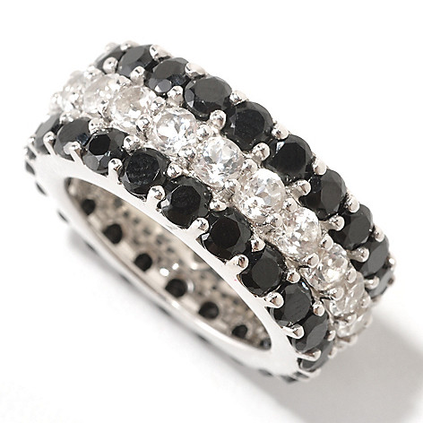 124-885 - Gem Treasures Sterling Silver Black Spinel & White Topaz Eternity Band Ring