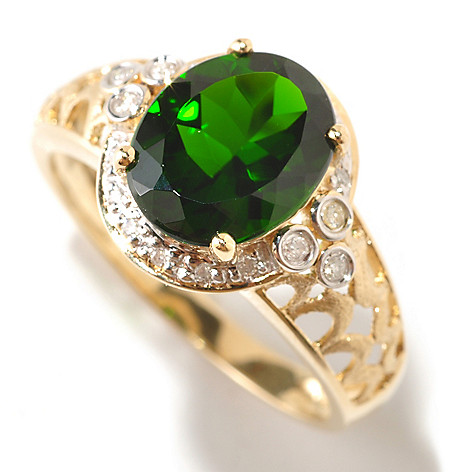 124-886 - Gem Treasures 14K Gold 3.05ctw Chrome Diopside & Diamond Ring