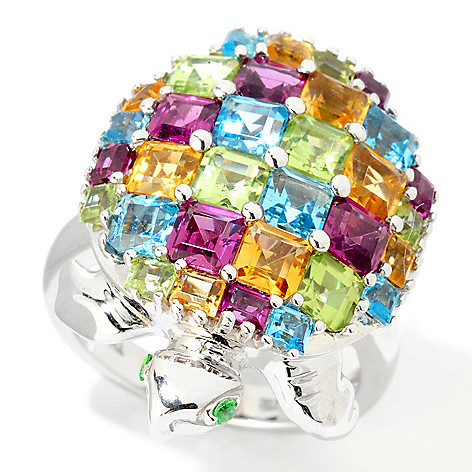 124-898 - NYC II 5.44 ctw Princess Cut Multi Gemstone Turtle Ring