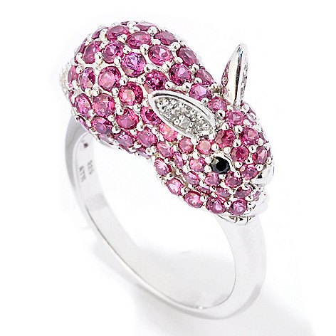 124-904 - NYC II 2.73ctw Pink Rhodolite, Black Spinel & Diamond Bunny Ring