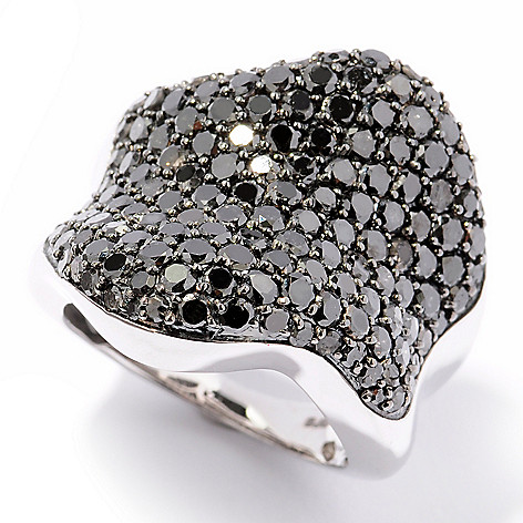 124-915 - Diamond Treasures® Sterling Silver 4.40ctw Black Diamond Wave Design Ring