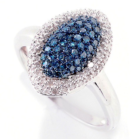 124-922 - Diamond Treasures  Sterling Silver  0.50ctw Blue &  White Diamond  Marquise Ring
