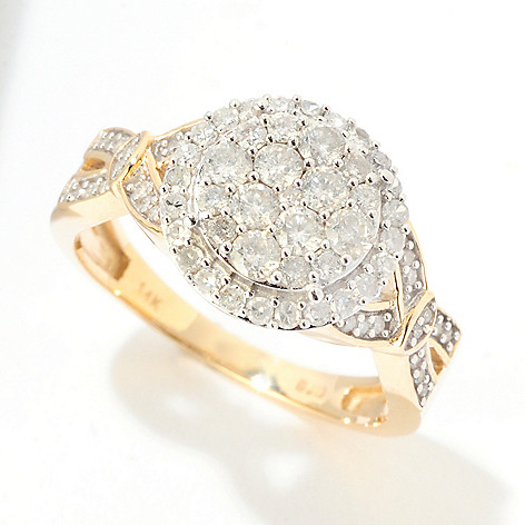 124-924 - Diamond Treasures 14K Gold 0.85ctw Diamond Pave Circle Ring