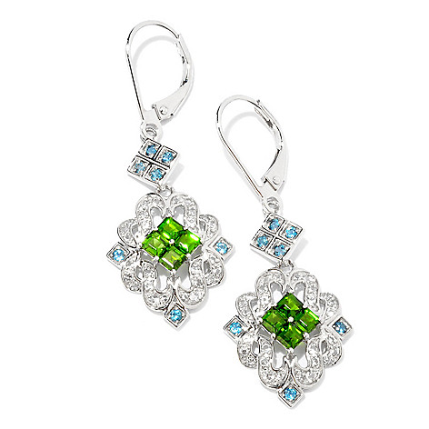 124-944 - NYC II 1.88ctw Chrome Diopside & London Blue Topaz Drop Earrings