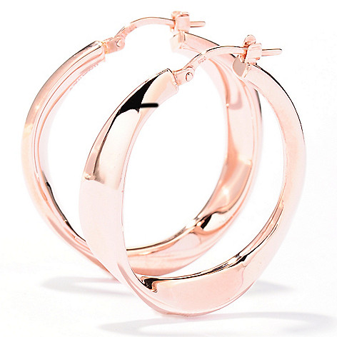 124-948 - Portofino 18K Gold Embraced™ 1.25'' Polished & Twisted Hoop Earrings