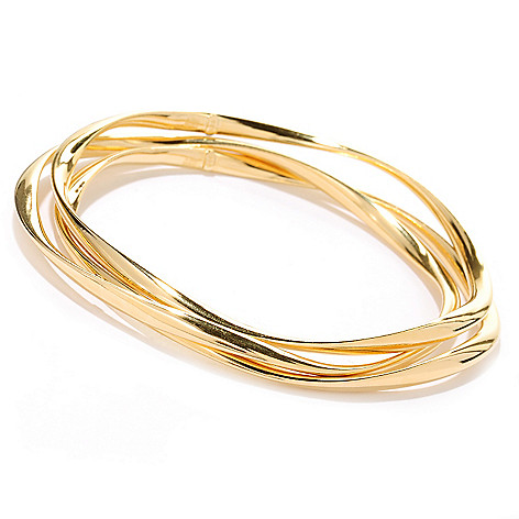 124-949 - Portofino 18K Gold Embraced™ Set of Three Wave Twist Slip-on Bangle Bracelets