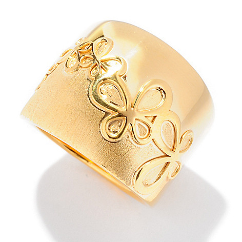 124-950 - Portofino 18K Gold Embraced™ Polished & Brushed Flower Band Ring