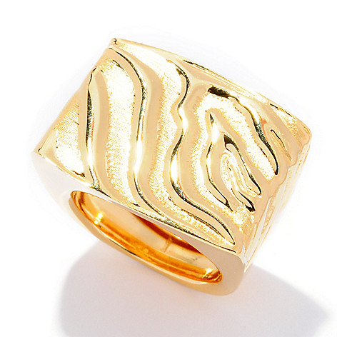 124-954 - Portofino Gold Embraced™ Polished & Brushed Animal Print Textured Ring
