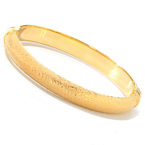 124-958 - Portofino Gold Embraced™ Fancy Brushed & Textured Hinged Bangle Bracelet
