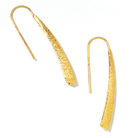 124-967 - Italian Designs with Stefano 14K Gold ''Oro Vita'' Textured Drop Earrings